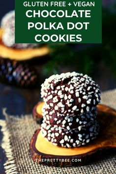 These gluten free vegan chocolate polka dot cookies are a fun addition to your holiday cookie tray! So chocolatey and delicious! #vegan #christmas #cookies #chocolate #glutenfree Delicious Chocolate, Homemade Chocolate, Vegan Chocolate, Chocolate Desserts, Vegan Holiday Cookie Recipe, Holiday Cookies, Pearl Sugar, Dairy Free Chocolate Chips, Vegan Cupcakes