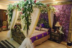 Romantic Bedroom decoration ideas for Wedding Night is one of the most attractive function. In Wedding Night Romantic Bedroom decorating id. Bridal Room Decor, Wedding Night Room Decorations, Hall Decorations, Diwali Decorations, Romantic Bedroom Design, Romantic Room, Romantic Ideas, Wedding Bedroom, Wedding House