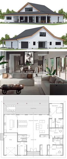 Small House plan with three bedrooms and garage. Simple and modern architecture Small House plan with three bedrooms and garage. Simple and modern architecture Small House Layout, House Layouts, Simple House Plans, House Floor Plans, Metal Building Homes, Building A House, Pole Barn Homes, Architecture, Future House