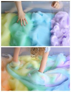 rainbowsandunicornscrafts: DIY Easy 2 Ingredient Sensory Rainbow Bubbles and Foam Tutorial from Fun at Home with Kids here.