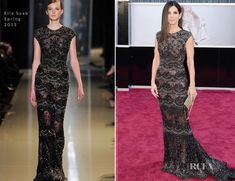 Sandra Bullock in an embellished black and silver Elie Saab Spring 2013 Couture gown. Oscars 2013.