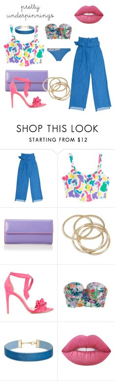 """""""Outfit #28"""" by filosofy ❤ liked on Polyvore featuring Moschino, Lodis, ABS by Allen Schwartz, Alexandre Birman, OuiHours, Miss Selfridge, Lime Crime, La Perla, Summer and denim"""