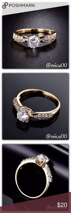 🆕18K Yellow Gold White Topaz Solitaire Ring! The Solitaire Stunner, with 18K Yellow Gold Filling & Sparkling White Topaz Stones! Perfect as a Bridal/Anniversary Band! This Beauty will last a Lifetime if Properly Cared For!🌟Also available in White Gold!  - Many smaller rings (sizes 4-6) now coming in stock!👍 - Please see last pic for full Description - Will ship securely in Jewelry Box👌  *NO TRADES *Prices are FIRM-Listed at Lowest Price Unless BUNDLED! *Sales are Final-Please Read…