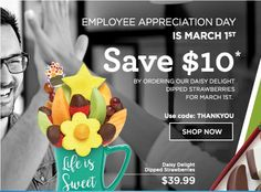 Edible Arrangements Promo Code For Free delivery w/ Coupons Feb 2019 Strawberry Delight, Strawberry Dip, Edible Arrangements Promo Code, Chocolate Dipped Fruit, Best Food Ever, Employee Appreciation, Christmas Makes, Make Your Mark, Food Gifts
