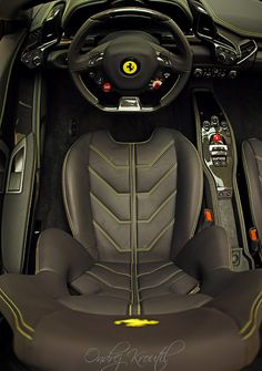 Ferrari 458 Italia Spider interior shot. (Click on photo for high-res. image.) Photo found here: http://6speedhaven.tumblr.com/post/25140301868/ferrari-458-italia-spider-interior
