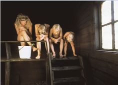 Finnish sauna is so hot, people have to keep their heads down