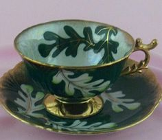 Green Norcrest Fine China Falling Leaves Teacup Set