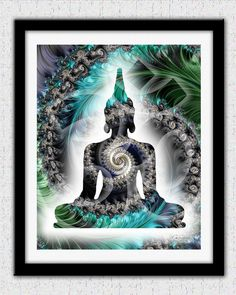 Buddha print teal blue Buddha art teal blue by theartofthematrix