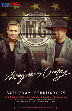 FM 106.1 and House Of Harley-Davidson present MONTGOMERY GENTRY  Saturday, February 25, 2017 at 8pm  The Rave/Eagles Club - Milwaukee WI  All Ages to enter / 21+ to drink