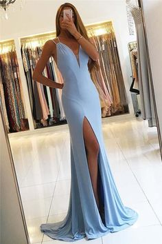 Gorgeous Sleeveless Mermaid Evening Dress Slit Long Prom Dress PG418