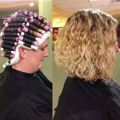 beautiful perm wrap and results, purple and white rods