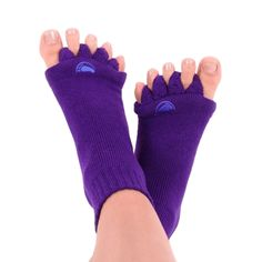 Foot pain relief with The Original Foot Alignment Socks. Pain from bunions, plantar fasciitis, crooked toes and other foot pain is helped by Toe alignment socks Foot Pain Relief, Hammer Toe, Sore Feet, Massage Techniques, Feet Care, Crew Socks, Purple, Plantar Fasciitis, Dressing