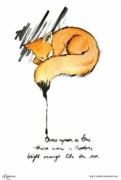Once upon a time, there was a creature bright orang like the sun. Cute Animal Drawings, Cute Drawings, Pencil Drawings, Fox Drawing, Painting & Drawing, Lapin Art, Art And Illustration, Fox Art, Watercolor Art