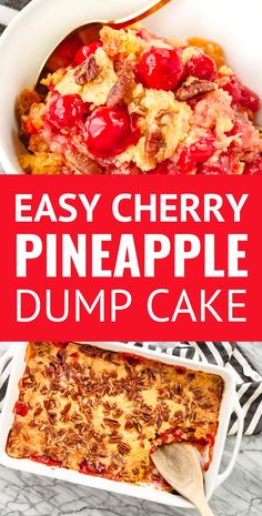 Cherry Pineapple Dump Cake -- with just 5 ingredients this super easy cherry dump cake recipe is sure to become your go-to dessert for cookouts potlucks and every other occasion. Just dump spread sprinkle dot and bake! Cherry Desserts, Köstliche Desserts, Cheesecake Desserts, Lemon Desserts, Homemade Desserts, Homemade Breads, Dump Meals, Easy Meals, Dump Cake Recipes