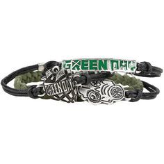 Green Day American Idiot Cord Bracelet Set Hot Topic ($15) ❤ liked on Polyvore featuring jewelry, bracelets, rope bracelet, american jewelry, metal bangles, metal jewelry and green bangles