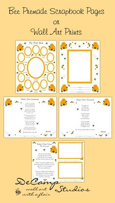 Baby's First Year Bumble Bee Premade Scrapbook Pages Or Wall Art Prints make a unique keepsake and perfect gift.  You receive 5 different pages with a choice of 3 different sizes #decampstudios