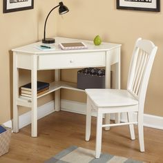 Simple Living Savannah 2 Piece Corner Study Set Desk White Size Small