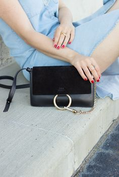 Chloe Faye black handbag | suede flap + leather body | gold ring and chain | small size