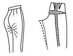 Illustration depicting pattern alteration of pants for prodruding derriere