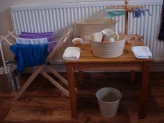 THE LEARNING ARK - Elementary Montessori : Washing Tables--like the little rack for drying face washers