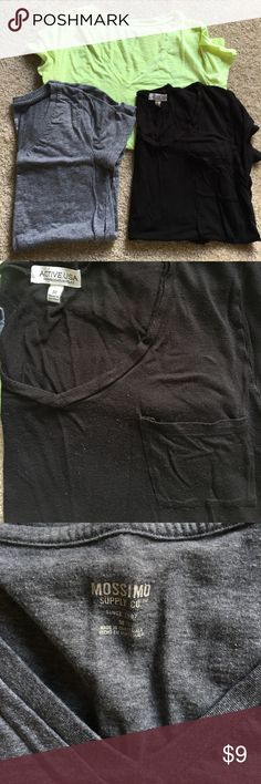 V neck tshirt bundle Three V neck tshirt a in good condition, all size medium. Black, gray, and neon yellow. Mossimo Supply Co. Tops Tees - Short Sleeve