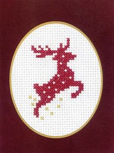 """This adorable cross stitch Reindeer Card Kit would make a perfect gift for the holidays! This complete kit includes the chart and instructions, needle, fabric, threads, and the card with the envelope. The design size is 3.5"""" x 5""""."""