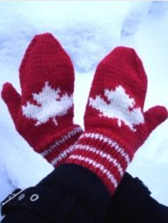 Maple Leaf Mittens pattern by Cathy Payson Spirit of the North, cheer on our Canadian team FREE PATTERN Ravelry: Maple Leaf Mittens pattern by Michele C Meadows Knitted Mittens Pattern, Crochet Gloves, Knit Mittens, Knit Crochet, Free Crochet, Knitting Charts, Knitting Patterns Free, Free Knitting, Crochet Patterns