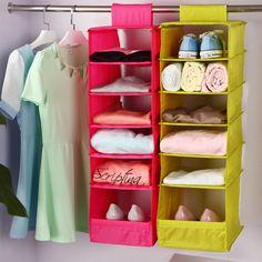Washable 5 Candy Colors Folding Hanging 6 Compartments-S Shelf Closet Organizer  Shoe Organizer Storage Bag  Storage Box 096