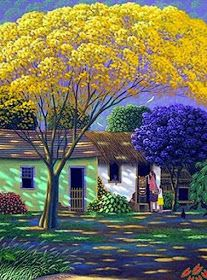 Beautiful colors in the shadows. Painting the Carranca by Edivaldo Barbosa de Souza - GINA Gallery of International Naive Art Landscape Art, Landscape Paintings, Modern Art Movements, Illustration Art, Illustrations, Naive Art, Beautiful Paintings, Amazing Art, Folk Art