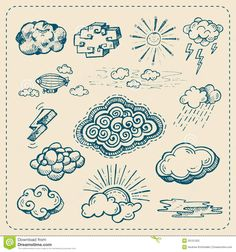 Vector Collection Of Hand Drawn Cloud Icons Stock Photography ...