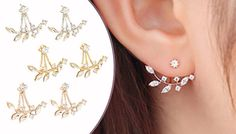 Double Simulated Crystal Leaf Earrings - 3 Colours Pretty double earring with a design to both the front and back of the ear      Choose from gold, rose gold or silver colours      Gorgeous simulated crystal leaf design that frames the earlobe      Features a pretty simulated crystal stud      Earrings measure approx.1cm x 2.5cm      Would make a lovely gift for friends or family      Save...