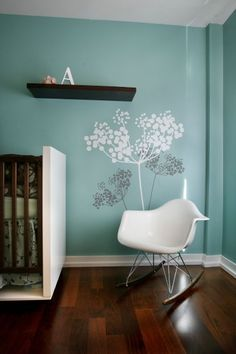 White Modern Nursery Wall Decals Wooden Floor