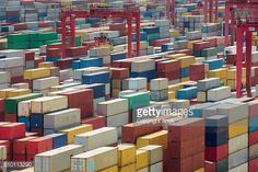 Stock Photo : China, Shanghai harber container box