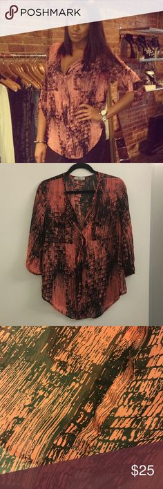 Sheer Oversized Blouse Sheer oversized quarter length sleeve blouse. No brand. Bought from a boutique. Salmon colored. Tops Blouses