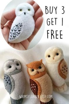 BUY 3 GET 1 FREE Owl Brooch Ornaments Soft Toy Pdf Patterns Tutorial Set, Felt Animals Owl Gifts Sewing Patterns Bundled Set, Owl Jewelry - Toys for years old happy toys Felt Animal Patterns, Owl Patterns, Pdf Sewing Patterns, Felt Owl Pattern, Felt Patterns Free, Owl Sewing, Free Sewing, Free Pattern, Felt Owls