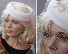 Vintage 50s 60s White Organdy Ringlet Summer Wedding Veil Hat
