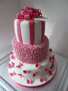 3-tier pink and white birthday cake by Whitley Cakes - Whitley Bay, North Tyneside