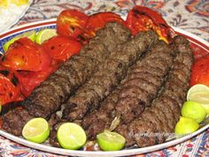 Kabab Koobideh (Persian ground meat kabab) persian food recipes with pictures Meat Recipes, Indian Food Recipes, Cooking Recipes, Ethnic Recipes, Beef Kabob Recipes, Iranian Cuisine, Iranian Food, Lebanese Cuisine, Middle East Food