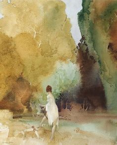 The Timid Huntress ~ Sir William Russell Flint ~ (1880 - 1969, Scotland)