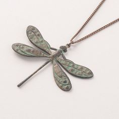Ornamental Things Patinaed Brass Dragonfly Necklace