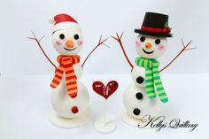 Bonhomme de neige Noël ornement papier Quilling bonhomme de neige - couple -, quilling bonhomme de neige, décoration de Noël, cadeau de Noël, bonhomme de neige mignon