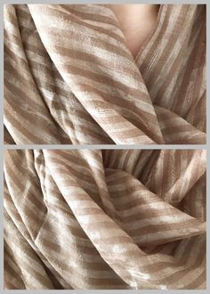 Fabric: Pure hand spun, ultra light weight Pashmina wool imported from the valleys of Kashmir  Dimensions: Inches- 79 x 29 Cm- 200 x 74  Print: - Beige/ Brown tan stripes - Delicate and subtle self- paisley print  Weave: - Plain Handloom  Note: Pictures have been taken in different lightings (indoor and sunlight) to show true color.  Care Instructions: Handle with care. Wear loosely and prevent rubbing. Keep in a moth free, airy place. Make sure the shawl does not get caught in jewellery...
