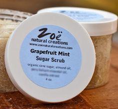 http://zoenaturalcreations.com // sugar scrub grapefruit mint