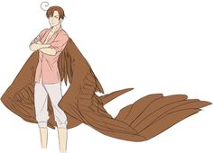 S.Italy - Lovino Chocolate coloured wings, can't control himself in the air. Aw, poor Lovi.
