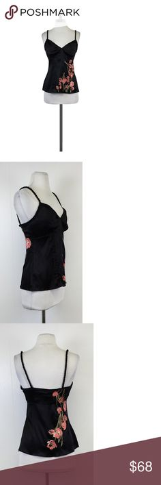 "Karen Millen- Black Embroidered Rope Trim Tank Sz 4 This elegant embroidered tank is topped off with rope trim and rope straps. Made with silk, this stylish shirt will keep you looking and feeling great. Size 4 94% silk 6% elastane Comes w/original tag Retails for $190.00 Comes w/extra thread Concealed side zip Embroidered flowers Rope trim & straps Pintucked details down front Gathered at bust Shoulder to hem 23"" Karen Millenis a British multi-national women's designer clothing retailer…"