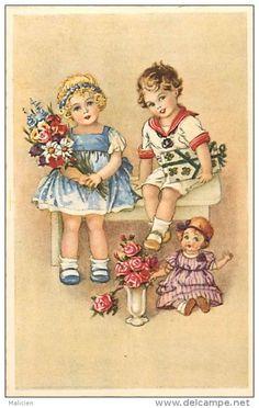 Themes - Enfants - Ref 552 - Couple D Enfants Et Poupee - Poupees - Illustrateur - Illustrateurs -carte Bon Etat -