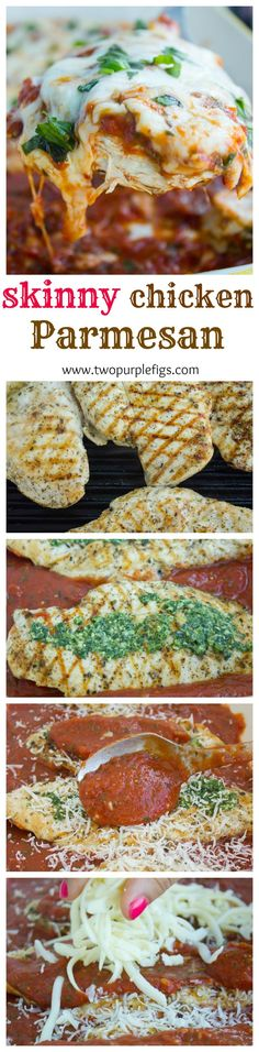 Skinny Grilled Chicken Parmesan--a step by step, quick easy crowd pleasing comfort chicken dinner in minutes! Get this recipe now and make it forever! www.twopurplefigs.com