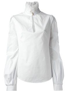 Alexander Mcqueen White Cotton Funnel Neck Blouse, £680