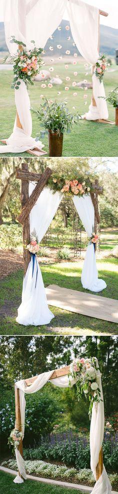 simple rustic diy floral and wood wedding altar ideas
