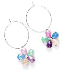 Crystal Studded Hoop Shape Earrings